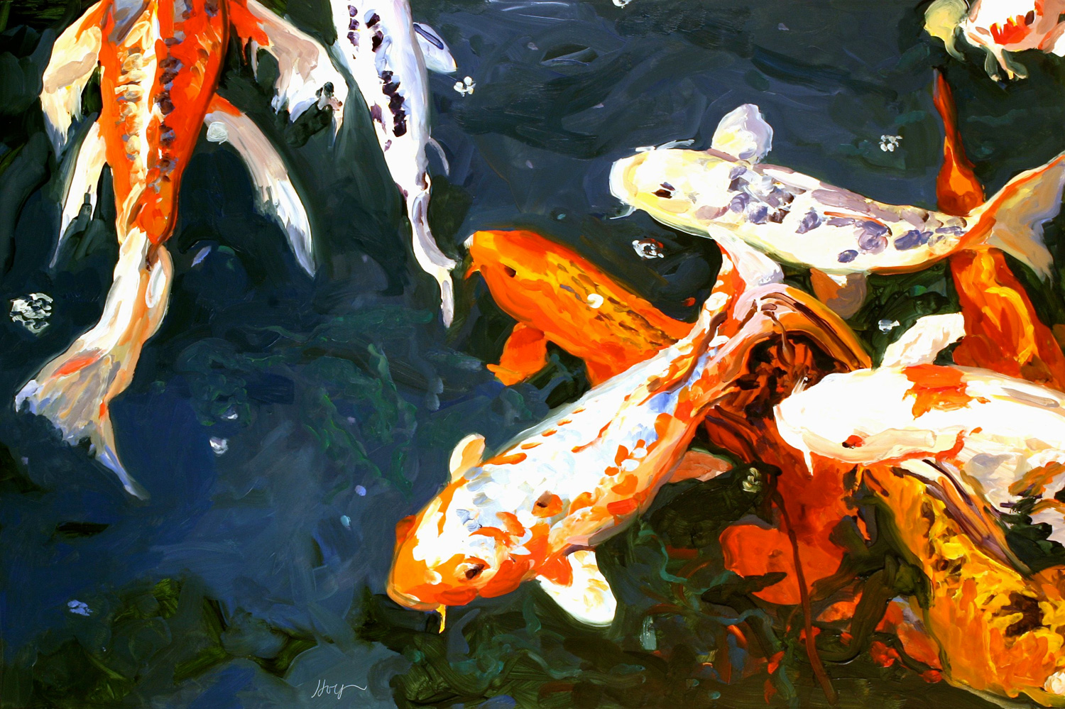 Koi fish paintings koi paintings nature paintings koi for Koi fish environment