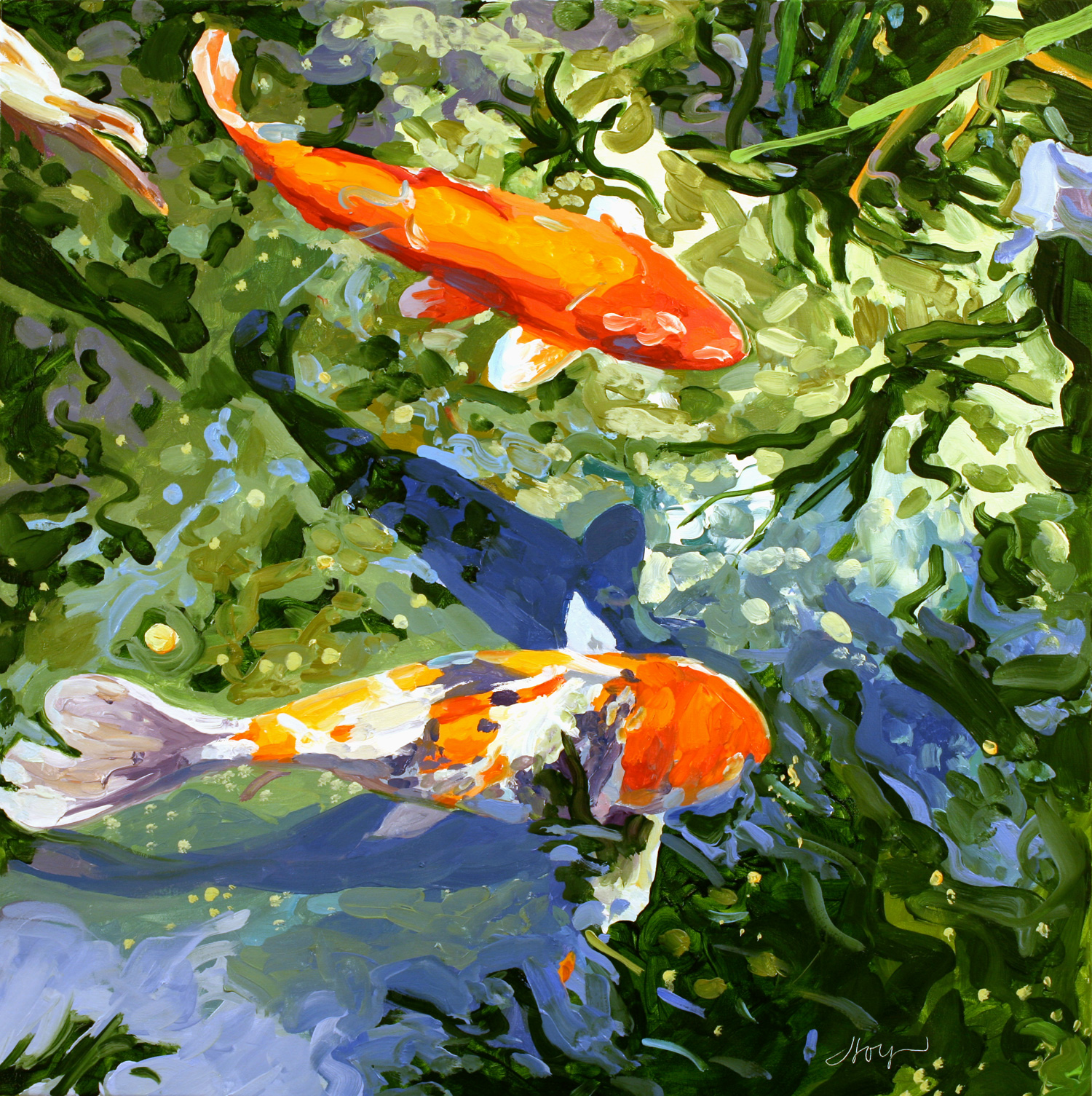 koi fish paintings koi paintings nature paintings koi artwork linda holt. Black Bedroom Furniture Sets. Home Design Ideas