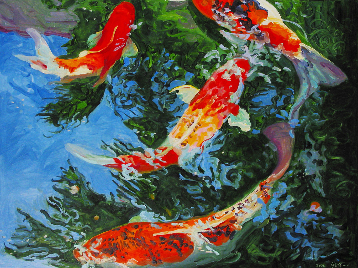 Koi fish paintings koi paintings nature paintings koi for Koi fish in water